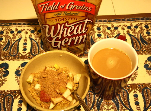 wheat germ, apples, stovetop oats, coffee