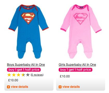 Screenshot from mothercare.com showing 'superbaby' babygro in standard Superman colours for boys, and pink-on-pink equivalent for girls,