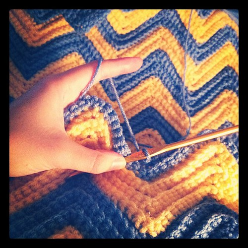 Working on the ripple blanket today #crochet