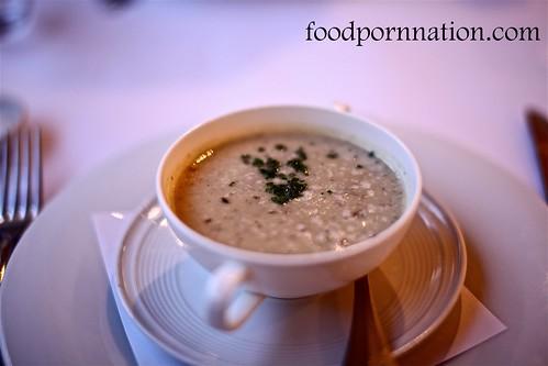 Potato, leek soup with truffles $12
