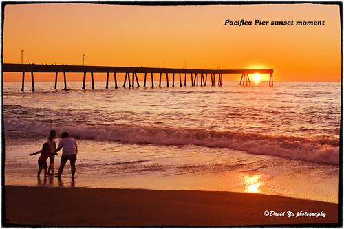 Pacifica Pier sunset moment by davidyuweb