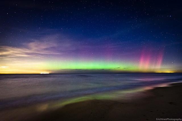 Aurora Borealis over Lake Michigan
