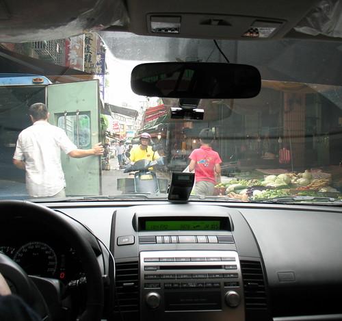 Driving through Daxi market 2