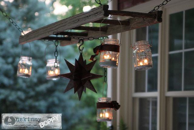 pottery barn ladder lantern DIY