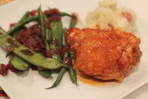 peach bourbon chicken upclose