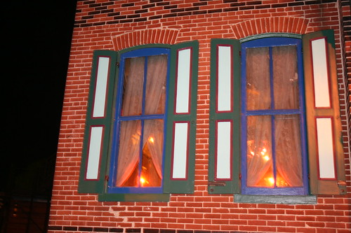 Candle lit windows of Bube's Brewery