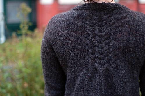 finished handspun sweater back detail