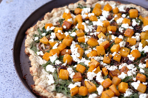 Butternut Squash, Arugula and Goat Cheese Pizza