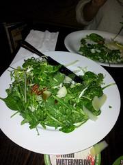 Spinach arugala pear salad