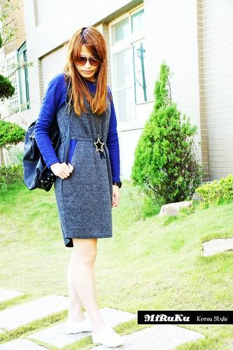 【D5005】毛料雙色口袋束腰抽繩洋裝(現貨+預購) NT950