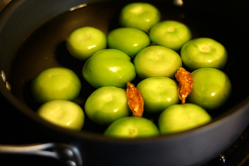 Tomatillo's cooking down for the sauce for my Butternut Squash Enchiladas with Tomatillo Sauce
