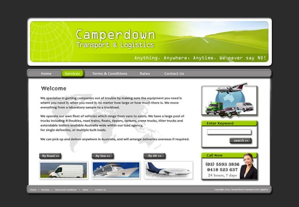 Transport and Logistics, Web Design