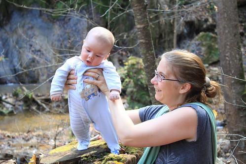 Falls Ridge - October 2011 - Vicky Smiles as Sagan Stands on Stump (Close)