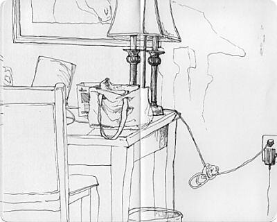 Louisville Travel Sketches - Galt House Room