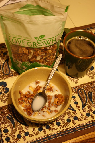Love Grown Apple Walnut Delight and coffee
