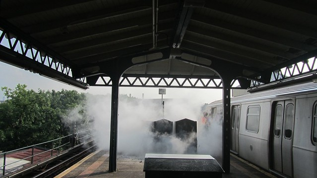 small fire on the platform.
