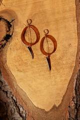 horn,abalone & copper earrings