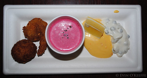 Greene's Chilled Beet Root Soup and Seafood Sampler
