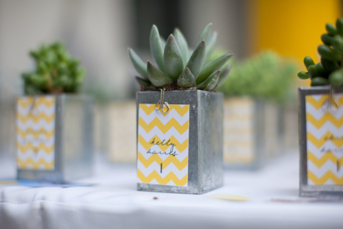 galvanized containers with cards