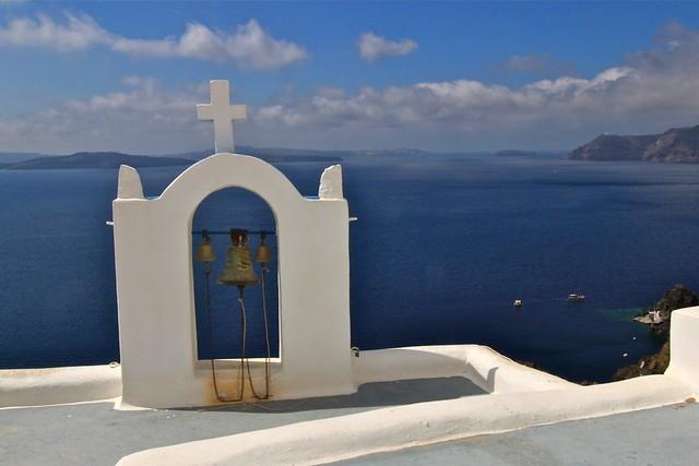 Toit d'église, Santorin, Grèce
