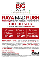 Macy Big Sale now till 4 Sept 2011