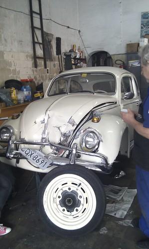 VW Fusca in garage