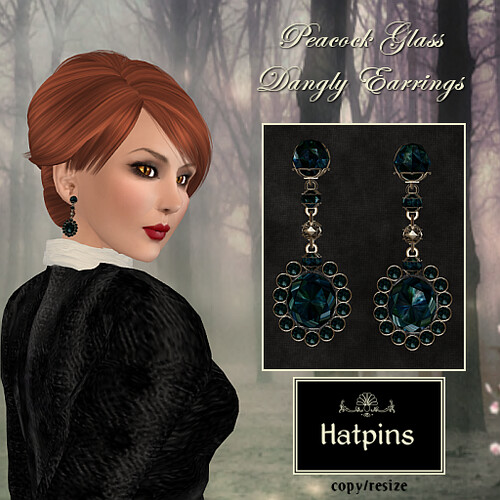 Hatpins - Peacock Glass Dangly Earrings - Moody Monday