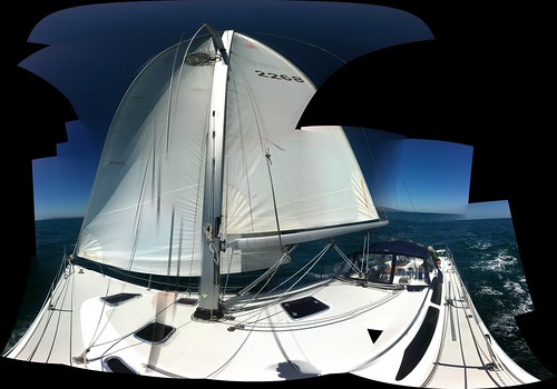 Sailing north past San Clemente, California in a Catalia 36 mk2, close hauled in 14 knot winds