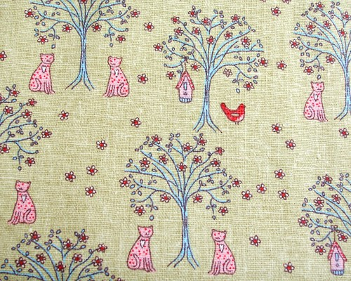 Japanese linen with cats and birds