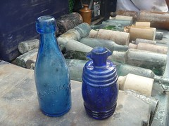 Cobalt Blue antique glass bottles under Bremne...