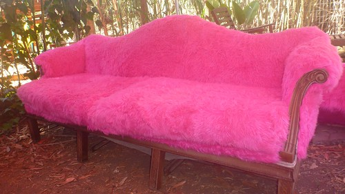 1 of 4 pink fur couches for Burning Man 2011