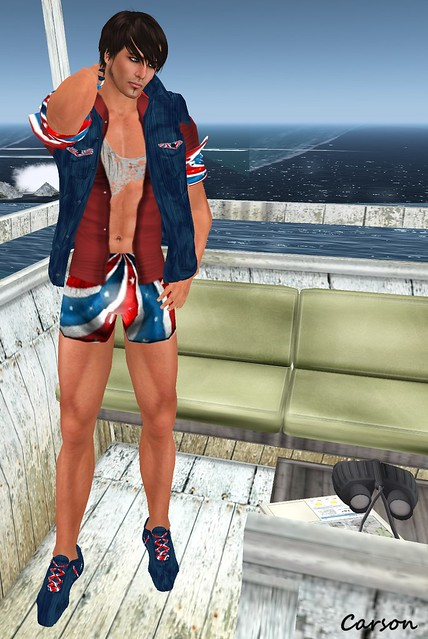 VERO MODERO - July Swim Suit, Rippeed Tank, Red Shirt, Denim Jacket, and Sneakers