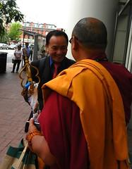 Senior Gelugpa lama holding traditional Buddhi...