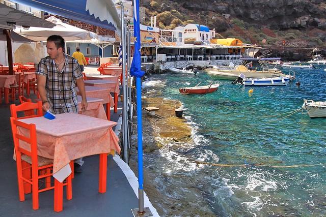 Restaurants de la baie Amoudi, Santorin, Grèce