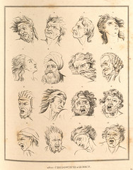 Series of sketches showing various angry facia...