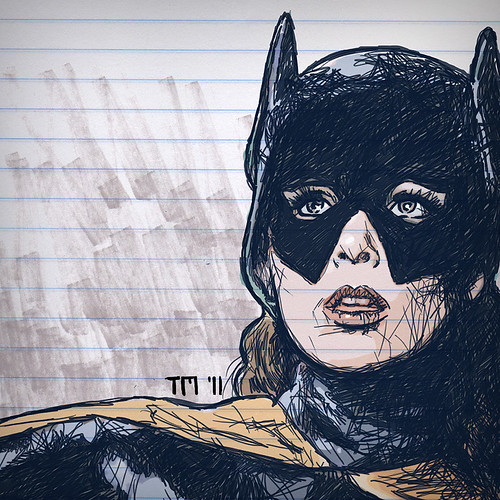 Sketch of Batgirl on writing paper