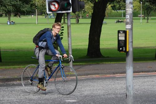 Skinny blue bike