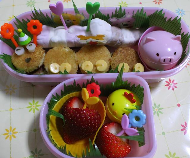 Pancake Caterpillar Bento for her