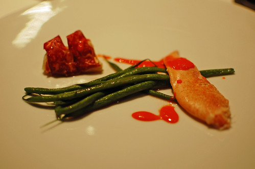 Lobster, green beans, coral sauce