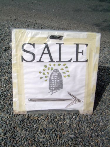 Sale sign with beehive