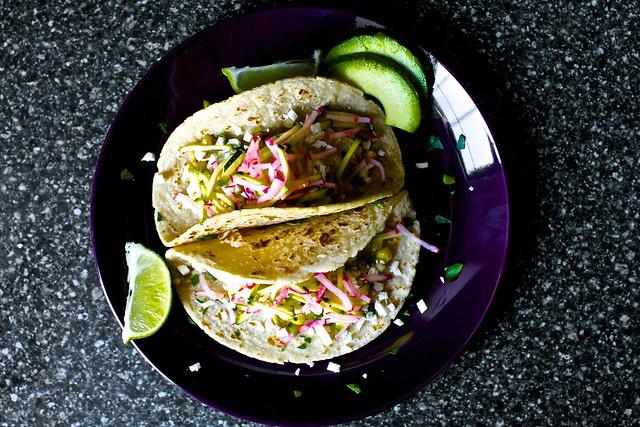 charred corn tacos, zucchini-radish slaw