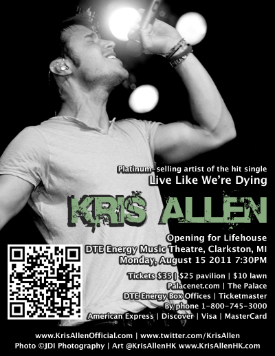 Kris Allen Lifehouse Wayland concert August 15 2011 DTE Energy Music Theatre promo flyer