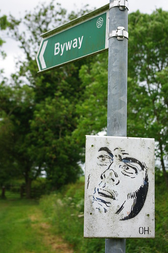 20110529-07_Odd Face drawing-Sign on Jurassic Way by gary.hadden
