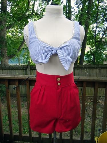 seersucker crop top & red shorts