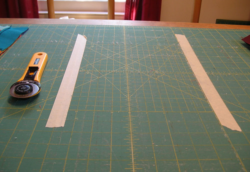 taping off the cutting lines