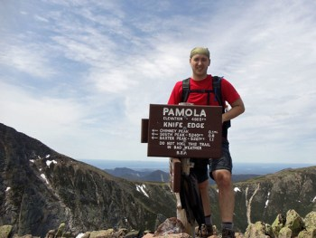 Pamola Peak sign atop Katahdin's Knife Edge trail.