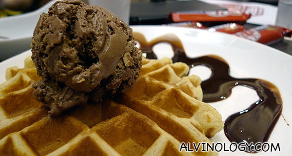 I had my Chocolatey Kit Kat Udders Ice Cream with the waffle