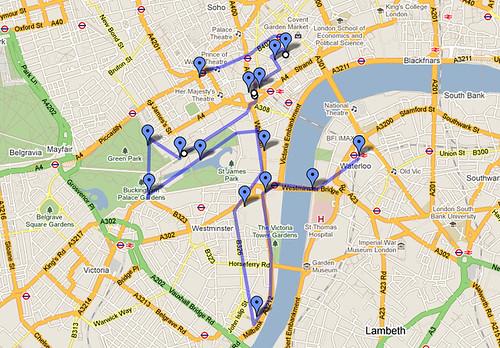 Mapa del itinerario del primer día