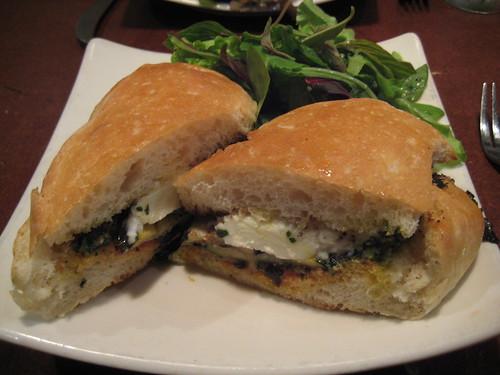 pics July 2011 006 eggplant, mozzarella, basil pesto, tomato jam sandwich Roots Cellar