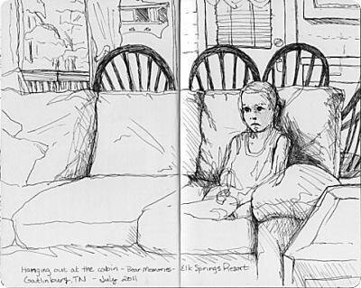 Gatlinburg Travel Sketches - Cabin Hanging Out